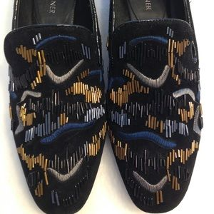 Donald Pliner Embroidered Beaded Suede Flats Shoes